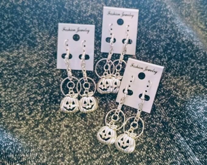 Halloween Earrings - Pumpkin Earrings - Hoop Earrings - Dangle Earrings - Handmade Earrings - Earrings