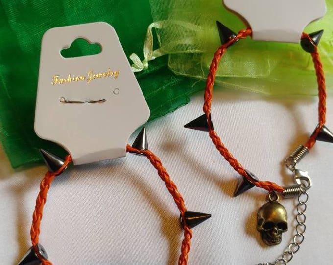Charm Bracelet - Bracelet - Skull Bracelet - Spike Bracelet - Halloween Bracelet