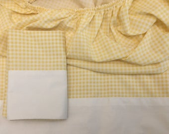 Vintage Sheet Set - Twin Flat and Fitted + Pillowcase Yellow and White Gingham