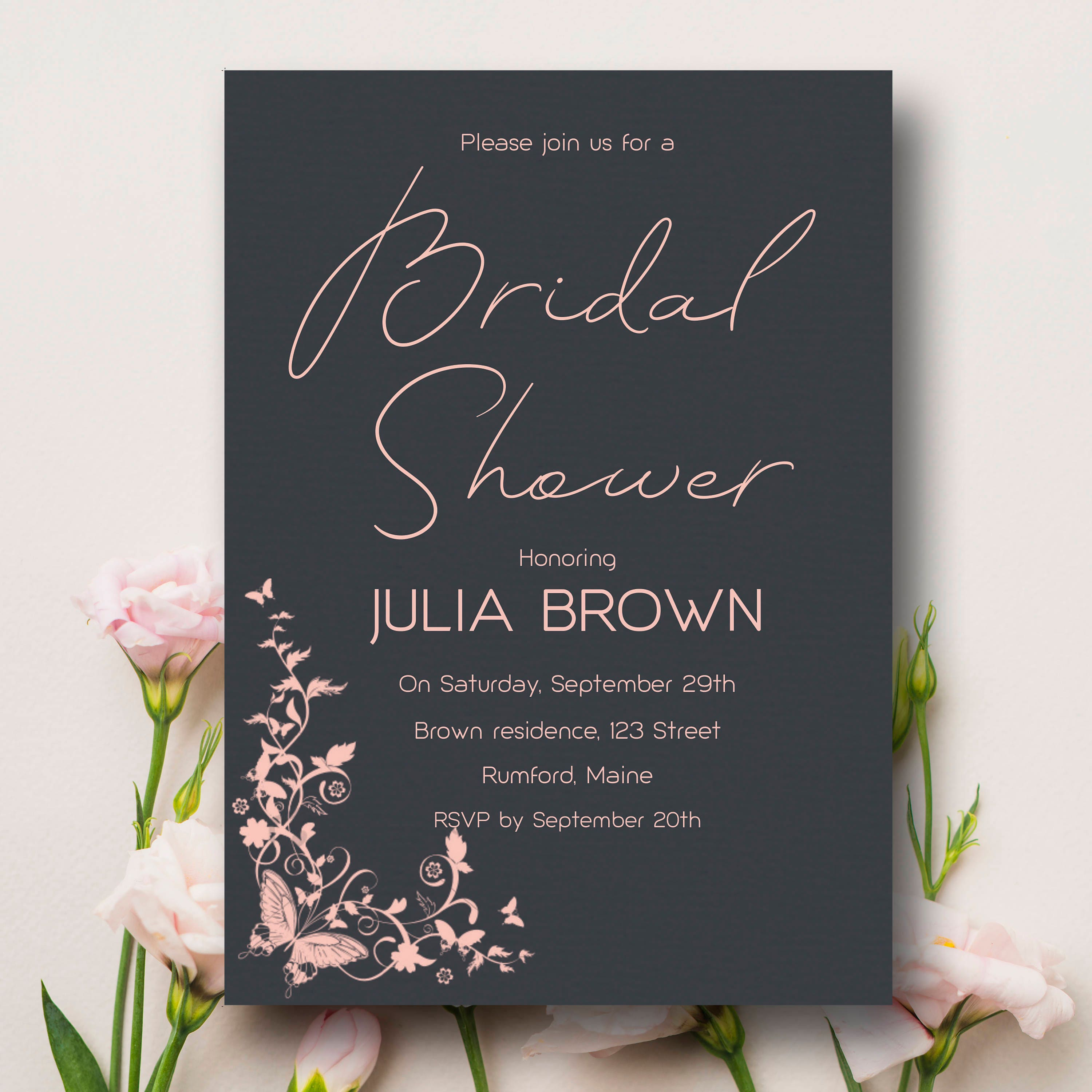 photograph regarding Printable Bridal Shower Card referred to as Gray and Purple Bridal Shower Invitation, Printable Bridal Shower card, Gray and Purple Bridal Shower Invite, Editable Bridal Shower Template