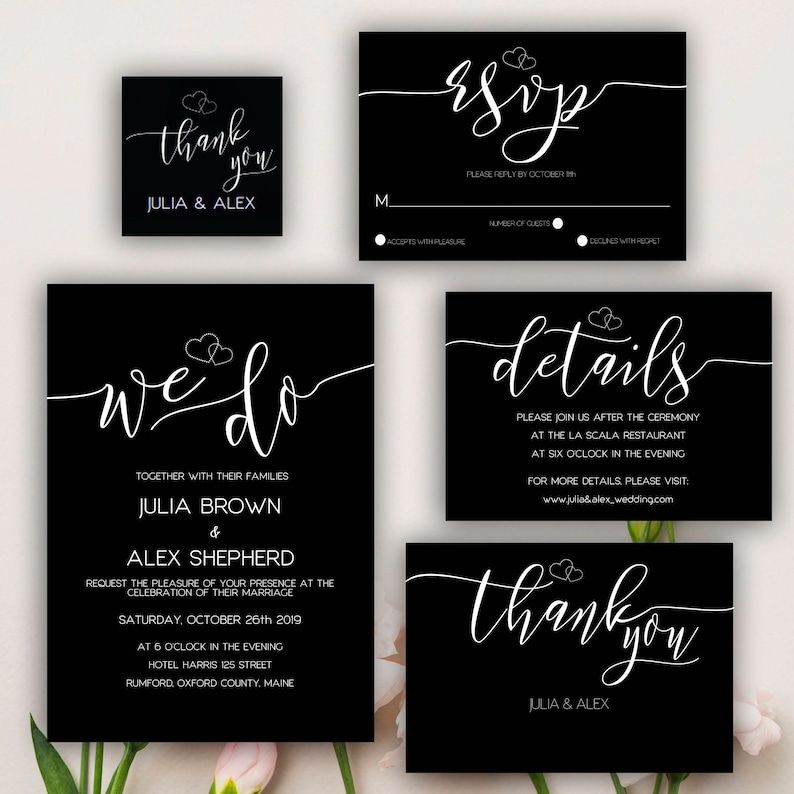 Editable Wedding Invitation Black and White  Wedding Suite Elegant Wedding Suite Printable RSVP Template PDF Printable Wedding Template