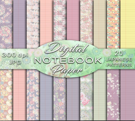 Notebook Paper, Digital Notebook Paper, Lined Paper, Ruled Notebook Paper,  Pastel Notebook Paper, Wide Ruled Paper, Journal printable pages