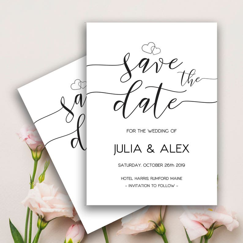 Minimalist Wedding Invitation Save The Date Printable Engagement Template Templates