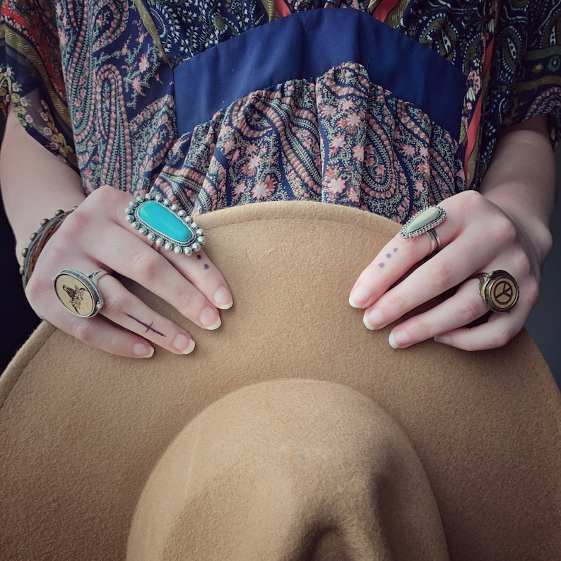 Natural Boho Ring Collection Ivory Bohemian Natural Stone Ring with double adjustable band