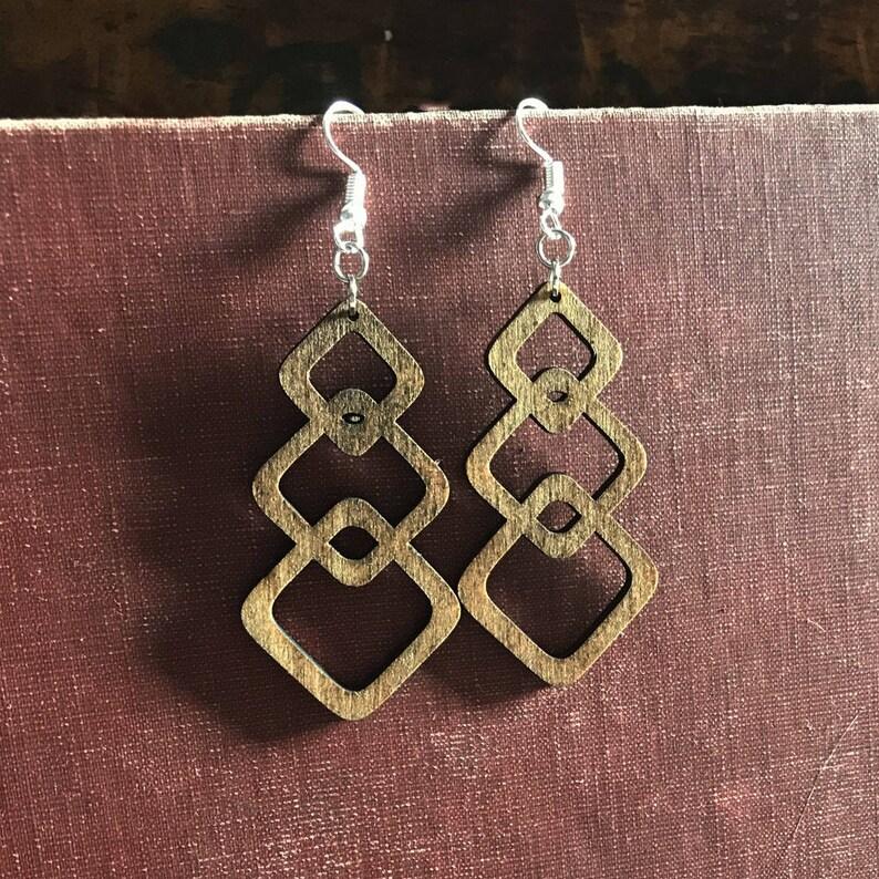 Stylish Boho Linking Squares Birch Wood Earrings