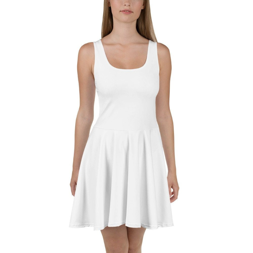 Little white dress, short white dress for women teen girls, sun dress  women, white casual or party dress, plus size skater sun dress