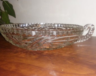 Vintage Anchor Hocking Stars and Bars Shallow Bowl with Handle