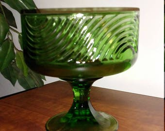 Vintage 1970 E.O. Brody Deep Green Swirl Pattern Compote/Candy Dish/Planter