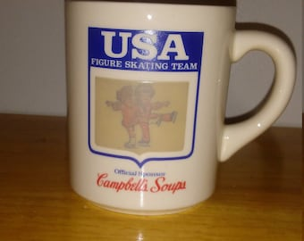 Vintage Campbells Soup USA Figure Skating Team Mug