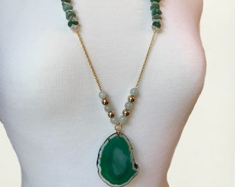 White & Green Quartz (Repurposed) Beaded Necklace with a Green Banded Brazilian Agate Pendant - NoWeL Designs