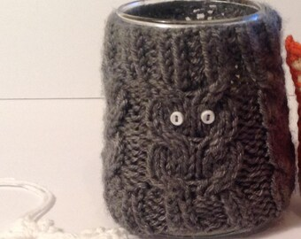 Hand Knit Woodland Owl Cable Mason Jar or Candle Cover