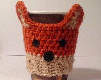 Hand Crochet Woodland Fox Coffee Cup Cozie