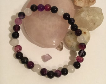 Hand made Black Agate, White Jade, and Purple Striped Agate Stone Beaded Stretch Bracelet with Lotus Blossom Charm