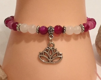 Hand Made Pink Striped Agate and White Jade Stone Beaded Stretch Bracelet with Lotus Blossom Charm