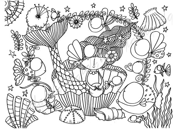 Image Color Coloring Printable Coloring Page Draw Illustration Instant Download Printable Colored Mermaid Sea Beach Fish Tropical Ocean
