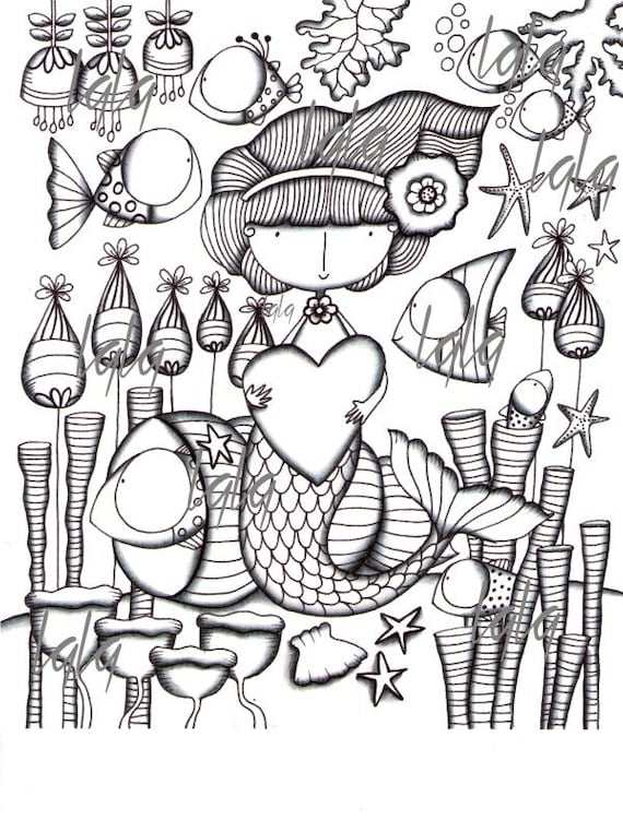 Image Color Coloring Page Draw Illustration Instant Download Printable Colored Mermaid Sea Beach Fish Tropical Ocean Seahorse