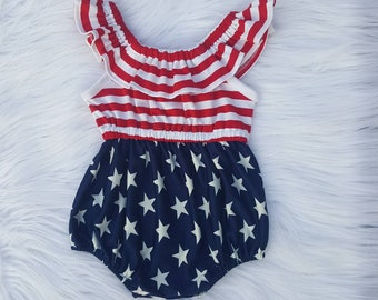 0374aea5daa 4th of July romper girl
