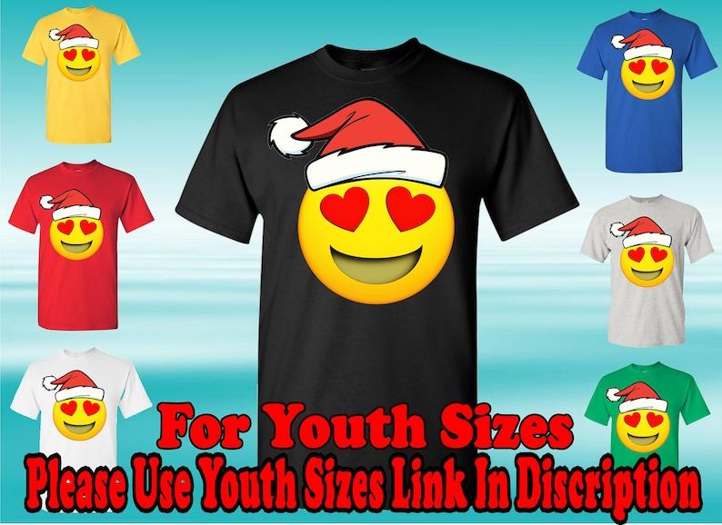 Santa Hat Smiling Face With Heart-Shaped Eyes Emoji T-Shirt,Heart Face,  Social Media T-Shirt, Love Emoji T-Shirt, I Love You Emoji Shirt