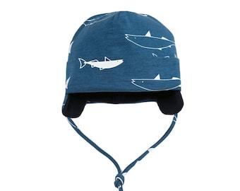 7150b27ddcc Winter boy hat. Winter baby boy hat with straps