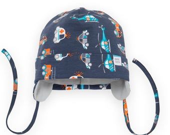 d87366f4b32 Winter baby boy hat with straps. Size 7 months to 15 months. Truck pattern  fleece lining hat with straps. Baby organic hat.