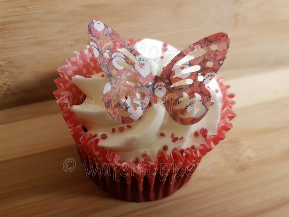 24 Edible Large Red//Black Hearts Pre Cut Wafer Cupcake Toppers