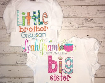 Sibling Applique Shirt- Big Brother Big Sister Little Brother Little Sister- Personalized Shirt and Onesie- Ruffle Shirt- Pregnancy