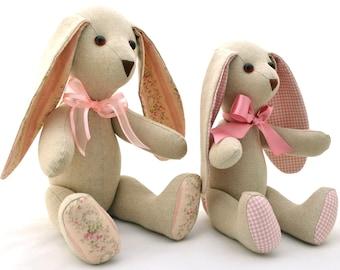 Floppy eared bunny sewing pattern - stuffed animal pattern - stuffed bunny pattern - cloth doll pattern - soft toy pattern - rabbit pattern