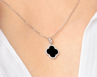 Black onyx 10 clover necklace 925 silver 18 K gold plated four leaf clover necklace 15 mm