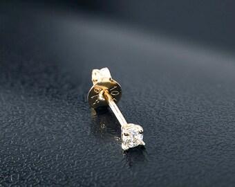 10K Gold Cartilage Stud, Gold Tragus Stud, Gold CZ Stud, Tiny Stud Earrings, CZ Earrings, Cartilage Stud, 10K Tiny Stud, 10K Gold Stud