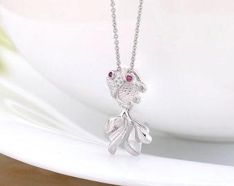 925 Sterling Silver Fish Pendant, Fish Jewelry, Fish Pendant, Double Fish Pendant, Silver Fish Pendant, Gold Fish Pendant, Fish CZ Pendant