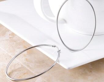 0664dc78f Oval Stainless Steel Hoop Earrings, Oval Steel Hoop Earrings, Stainless  Steel Large Hoop Earrings, Stainless Steel Hoop, High Shine Hoops