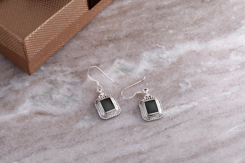 925 Sterling Silver Black Onyx Square Dangle Earrings