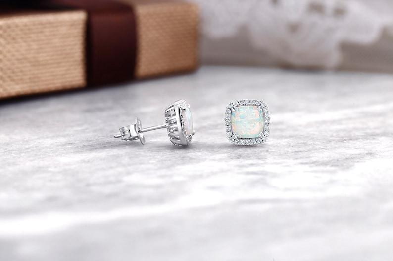5eac0520cec79 Opal Halo Earrings, Opal Earrings Stud, Silver Opal Earrings, White Opal  Earrings, Square Opal Studs, 925 Sterling Silver Opal Halo Earrings