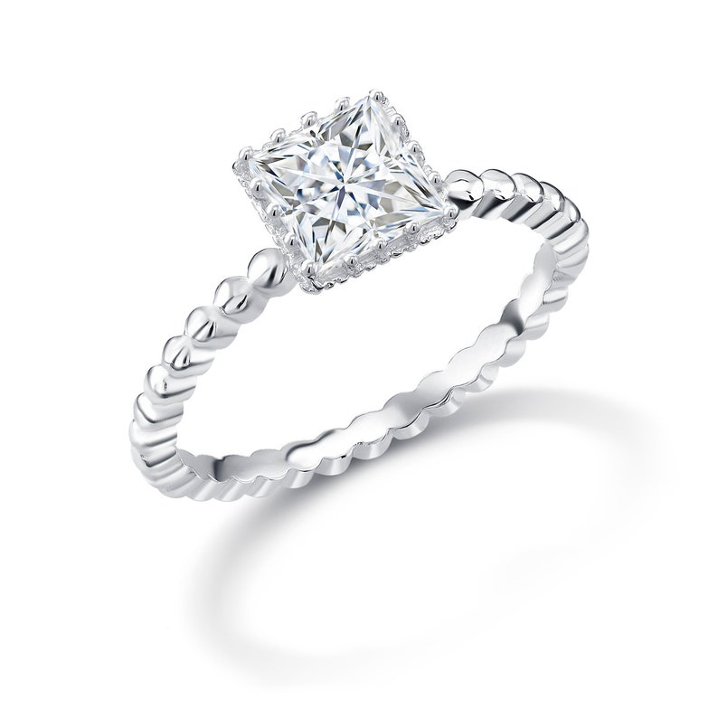 4ef928750cff5 Square Solitaire Stacking Rings, Square Solitaire CZ 925 Sterling Silver  Stacking Rings, Square Classic Stacking Rings, Princess Cut CZ Ring