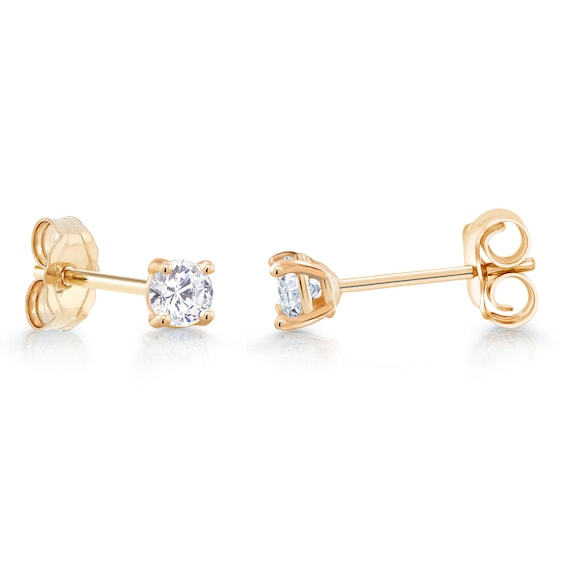 10K Solid Yellow Gold Cubic Zirconia Huggie Hoop Earrings 2 Sizes Available