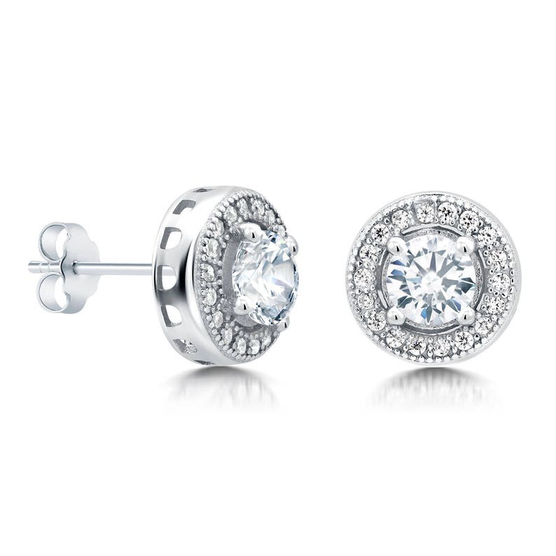 b257ada22 925 Sterling Silver Halo Studs CZ Stud Earrings CZ Studs for | Etsy