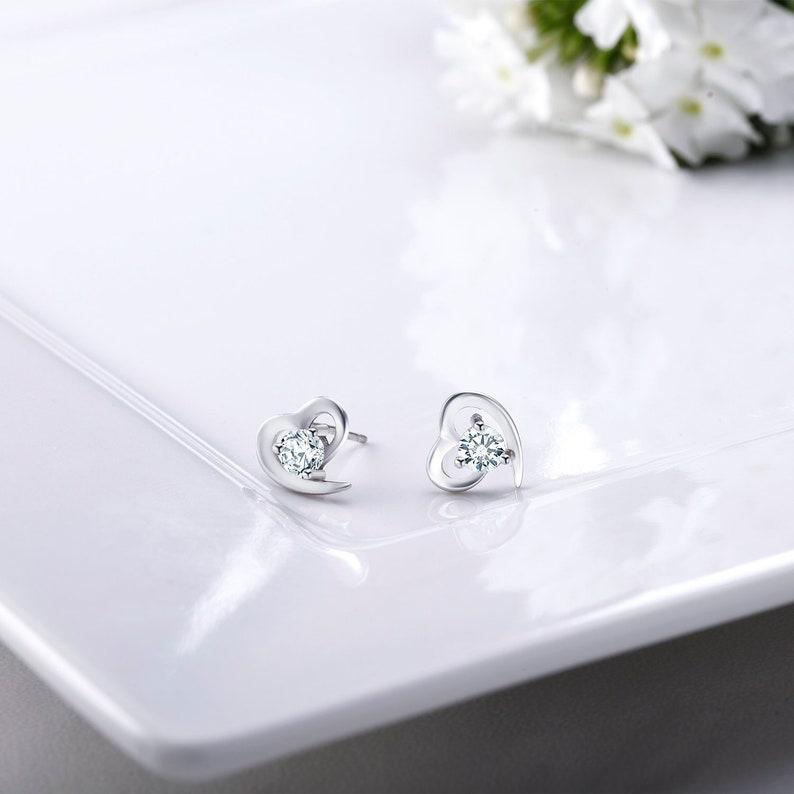 Women 925 Sterling Silver Round Shiny Balls Cubic Zirconia Stud Earrings Gift
