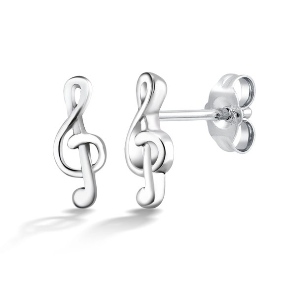 Gift box studs music studs Sterling Silver music note stud earrings