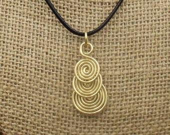 Brass Celtic Drop Spiral Pendant - Simple Celt Series