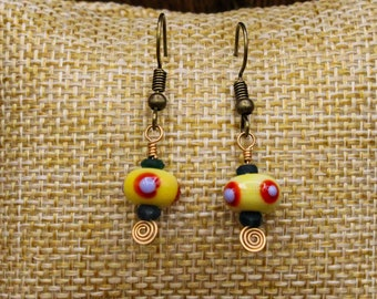 Lampwork glass, Ancient Roman glass and Bronze earrings with stainless steel post (495)