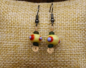 Lampwork glass, Ancient Roman glass and Bronze earrings with stainless steel post (496)