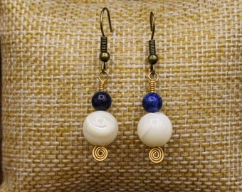 Mother of Pearl, Lapis Lazuli, and Brass earrings with stainless steel post