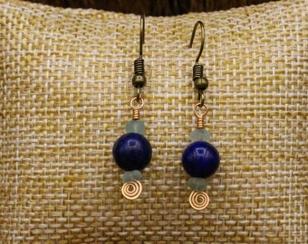 Ancient Roman glass, Lapis Lazuli, and Bronze earrings with stainless steel post