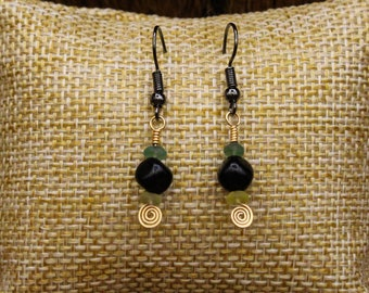 Ancient Roman glass, Lignite Jet, and Brass earrings with stainless steel post