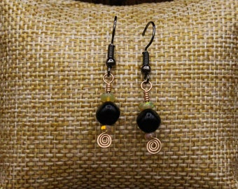 Ethiopian Welo Opal, Lignite Jet, and Bronze earrings with stainless steel post