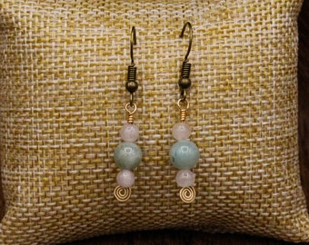 Raw Emerald, Rose Quartz, and Brass earrings with stainless steel post (487)