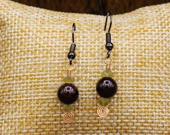 Ancient Roman glass, Garnet, and Bronze earrings with stainless steel post (498)