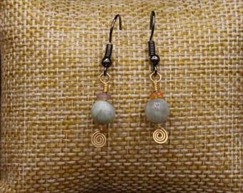 Ethiopian Welo Opal, Raw Emerald, and Brass earrings with stainless steel post