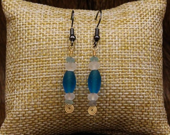 Ancient Roman glass and Brass earrings with stainless steel post