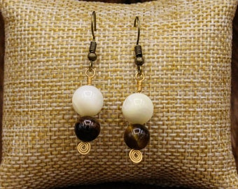 Mother of Pearl, Tiger Eye, and Brass earrings with stainless steel post
